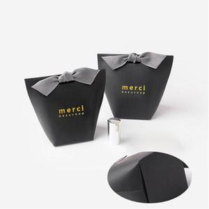 Moda Fold presente caixas de embalagem Gilding Sem fita Francês Graças Merci Box Paper Bag Fit casamento favorece presentes do partido 0 42hb Uu