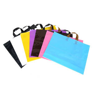 Boutiques clothes gifts store retail packed handbag package pure candy color solid plastic foldable reusable shopping bags