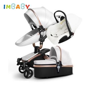IMBABY cochecito de bebé 3 en 1 asiento de bebé cuna Cochecito de niño con el coche del carro de la rueda grande para nieve para niños de 0-36 meses