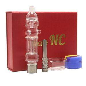 New Dab Straw Micro NC-Kit Mini Glaswasserpfeife mit 510 Quartz Tipp Titan-Nagel-Bohrinseln Schwarz Rot Geschenkbox