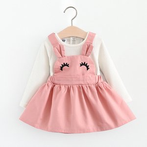 Bear Leader Girls Dresses 2018 New Fashion Autunno Baby Ciglia Curvy Rabbit Ear Sling Dress per 6-24M