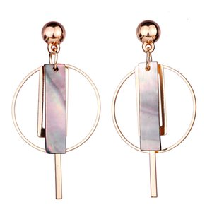 FARLENA Jewelry Round Dangle Earrings with Natural Shell Fashion Women Daily dress up Drop Earrings