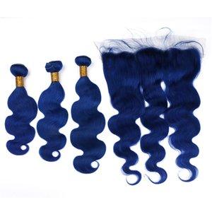Перуанский 3 связки с кружева фронтальная синий цвет перуанский объемная волна волос 3 человеческих волос пучки с 13*4 кружева фронтальная
