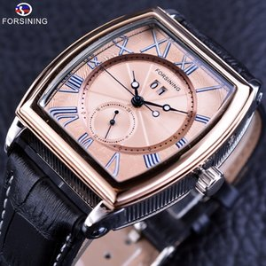 Forsining Luxury Shanghai Movement Waterproof Calendar Minimalist Design Genuine Leather Mens Automatic Watches Top Brand Luxury