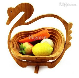 2015 Oferta especial de venta 1 Platos Ciq Platos Novedad artículo Plato de fruta plegable de bambú Home Storage Basket Venta al por mayor envío gratuito