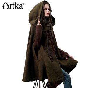 ARTKA Women's Winter New Vintage Warm Woolen Hoodie Cloak Coat Embroidered Drop-Shoulder Sleeve Wool Cape Outerwear WA10220D C18110601