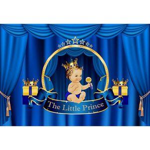 Индивидуальные Royal Prince Baby Shower Фон Печатных Синий Занавес Золотые Короны Мальчик Дети День Рождения Фото Стенд Фон