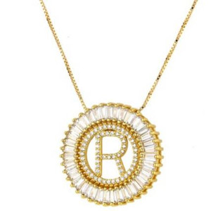 designer jewelry necklace for women men zircon 26 letters pendant circle gold color ot fashion free of shipping