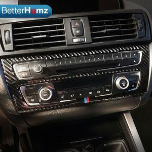 BMW F20 F21 탄소 섬유 자동차 인테리어 에어컨 CD 컨트롤 패널 커버 트림 자동차 스타일링 스티커 1 시리즈 액세서리에 대 한 도매