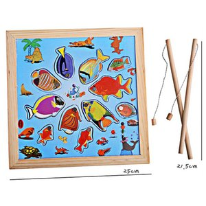 Children Magnetic Toy Set Cartoon Baby Wooden Puzzle Magnetic Fishing Game Toy FCI#