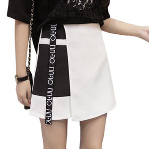 Été en mousseline de soie Jupes 2018 coréenne Fashion Style femmes Lettre Patchwork Imprimé Jupes Femme A-ligne antilumière taille haute