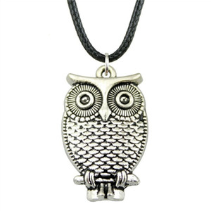WYSIWYG 5 Pieces Leather Chain Necklaces Pendants Choker Collar Pendant Necklace Women Owl 28x18mm N6-B10681