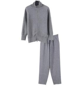 2018 Marka Moda Tasarımcısı Lüks Numarası 8 İki adet Marka Same Stil Siyah / Gri Uzun Kollu Kadın Tops Ve Pantolon 91861 Standı ayarlar