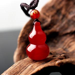 Agate Gourd glace naturelle pendentif medulla rouge petite gourde jade bijoux Fulu double complet mâle et femelle collier