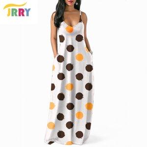 JRRY Bohemian Spaghetti Strap Dots Women Maxi Dresses V profundo cuello largo Sexy Ladies Dress Vestidos