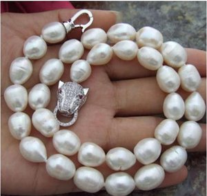 11-13mm Natural White Baroque Pearl Necklace 18inch 925 Silver Clasp