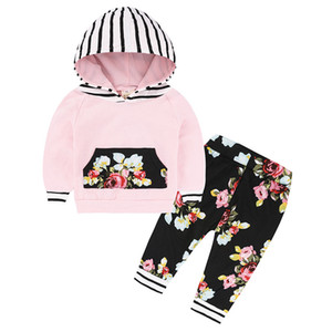 Terno INS Kids Clothing Set Listrado Floral Com Cap Hat roupas de bebê Define Long Sleeve Children animal print Hoodies Calças LJJA3214-40