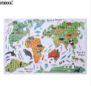 Colorful Animal World Map Wall Sticker Removable PVC Wallpaper Children Bedroom Decals Nursery Posters Home Decoration