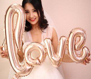 Riesen Link Liebe Folie Helium Ballons Rose Gold Brief Kugeln Flasche Tasse Globos Valentinstag Hochzeit Party Decor Bridal Shower