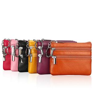 Monedero de cuero genuino de calidad monedero de las mujeres pequeño cambio de dinero bolsas de bolsillo billeteras titular de la caja dominante Mini bolsa de la cremallera de la bolsa