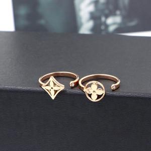 Moda de acero inoxidable de estilo coreano, ronda de flores de acero titanium chapado en oro anillo abierto Chicas japonesas y coreanas 18K anillo de cola de oro rosa