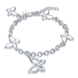 Alta quatity Pulseira borboleta pulseira de prata esterlina banhado SPB537;! 925 moda homens e mulheres alta Quatity Braceletes