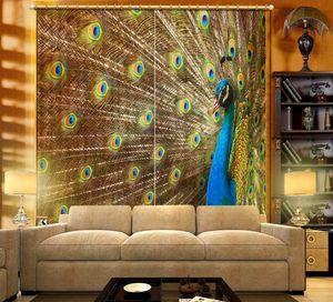 럭셔리 커튼 거실 용 3D 사진 인쇄 커튼 블랙 아웃 창 커튼 Cortinas peacock Room Drapes