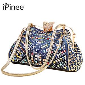 iPinee Bayanlar Çanta Kadın Moda Çanta Marka Tasarım Kadın Omuz Çantaları Denim Rhinestones Dekoratif Y18102603