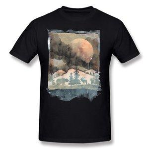 Best Choice Men 100% Cotton PAINTED NATURE T Shirts Men Round Collar Carbon Short Sleeve T Shirt 5XL Casual T Shirts