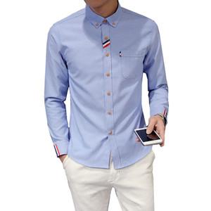2018 Nouveau Mode Hommes Chemise À Manches Longues Tendance Slim Fit Mâle Version Coréenne Mode Casual Couleur Unie Oxford Chemises Habillées