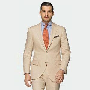 Brand New Champagne Men Wedding Tuxdos Excellent Groom Tuxedos Notch Lapel Two Button Men Business Dinner Prom Blazer(Jacket+Pants+Tie) 664