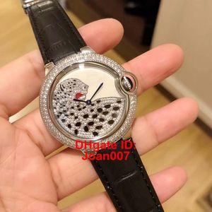 Relógios Leopard Dial Jóias de Diamante Bisel Mulheres Movimento Quartz Bateria Couro Strap Lady Women Watch Relógios de pulso 36MM