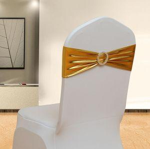 Spandex Lycra Cubre la silla de la boda Sash Bands Decoración del banquete de boda Silla de cumpleaños Sash