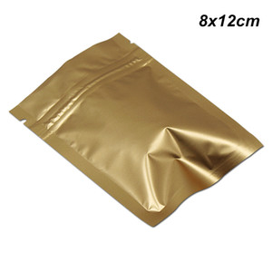 Matte Ouro 200pcs 8x12 cm Zipper fechamento Mylar Foil Embalagem Sacos com rasgo Entalhes Resealable folha de alumínio Cheiro Leak Proof Food Bolsa de armazenamento