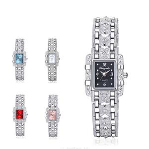 Chaoyada wengle nova liga de liga de diamante pulseiras casuais moda de luxo espelho de vidro vestido de presente mulheres relógio de quartzo