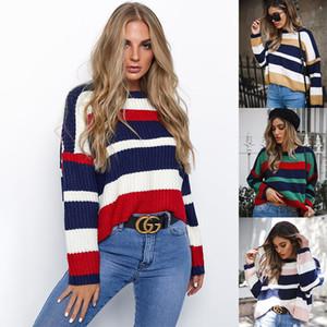 Venlilulu Loose Crop maglione donne pullover a righe autunno maglia maglioni corti per le donne pullover invernali top per la femmina