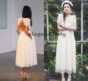 Tea-length 1920s' Wedding Dresses 2018 Retro abiti da sposa Short Sleeve Full Lace Open Back Country Beach Short Wedding Gown Cheap