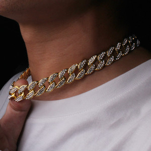 Iced Out Bling Rhinestone Golden Finish Miami Cuban Link Chain Necklace Men's Hip hop Necklace Jewelry