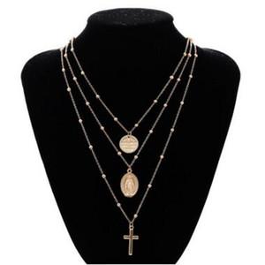 Madonna Croce Collana in argento oro Madonna multistrato collana girocollo pendenti gioielli di moda per le donne collane croce multistrato