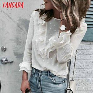 Tangada mulheres branco chiffon camisa blusa de bolinhas tamanho grande boho 2018 senhoras tops feminino blusas de manga longa femininas aon53