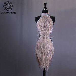 GOODANPAR Yeni Stil Seksi Likra Latin Dans Elbise Kadın Kolsuz Rekabet Salsa Rumba Bodysuit Sutyen Ile Samba Sineklik Elbise