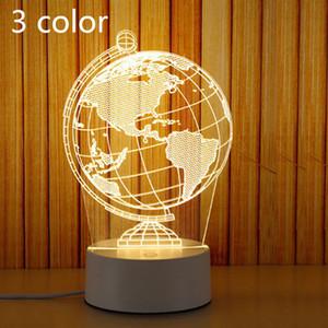 Lampada da comodino a LED Piccola luce notturna Piccola lampada da tavolo 3D Lampada da comodino con telecomando USB Originalità Lampada da comodino accogliente Nuovo globo 3 colori