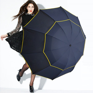 130cm großer hochwertiger Regenschirm Männer Regen Frau winddicht große Paraguas männliche Frauen Sun 3 Floding großer Regenschirm im Freien Parapluie