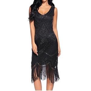 2018 Women's Retro 1920s Great Gatsby Dress Vintage V Neck Fringe Hem Art Deco Tassels Sequined Cocktail Flapper Party Dress