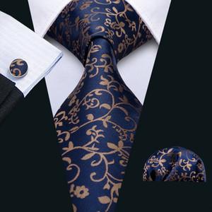 Быстрая доставка Мужская галстука Hankerchief Запонки Установите темно-синий галстук с золотыми цветами Silk Business Повседневная партия галстука жаккардовый сплетенный N-5049