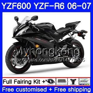 YAMAHA Parlak Mat siyah YZF R 6 YZF 600 YZF-R6 için gövde + Tank 2006 2007 233HM.28 YZF-600 YZF600 YZFR6 06 07 YZF R6 06 07