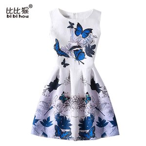 Bibihou 2017 New Summer Girls Dress enfants dres Dress Vestidos Adolescents Papillon Imprimer Princesse Party Dress pour Filles Bébé Fille