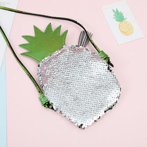 Mermaid Sequin Coin Purse Kid Pineapple Ice Cream Paillette Messenger Bag girls Sequins Glitter Shoulder Bag Pocket Wallet Christmas Gift p