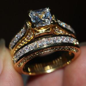 Dexule Femmes Hommes Bijoux Bague Princesse Cut 2ct Diamant 14KT Or Jaune Rempli Fiançailles Bague De Mariage Bague Cadeau
