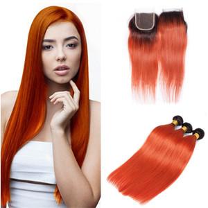 Color 1B / 350 Orange Ombre Closure & Bundles Paquetes de tejido naranja perlado Ombre naranja recta con cierre de encaje